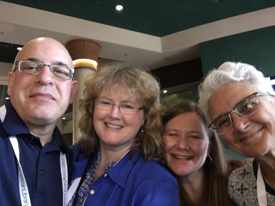 Peter Salomon, Lynda Mullaly Hunt, Nancy Day, and me