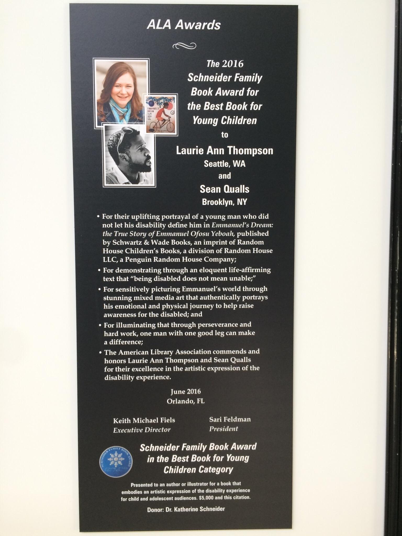 Schneider award poster