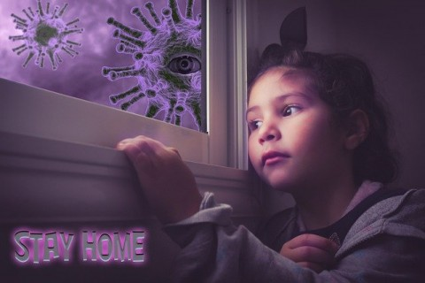 girl looking out window at virus